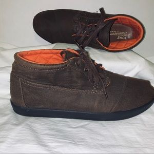 Mens Size M14 Brown Toms Canvas Ankle Boots 240511